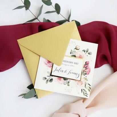 Zaproszenie kwiatowe ze złotym akcentem ELE 468