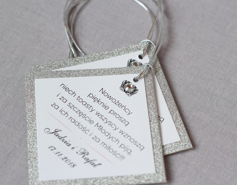 ELE 339 Srebrne zaproszenie ślubne