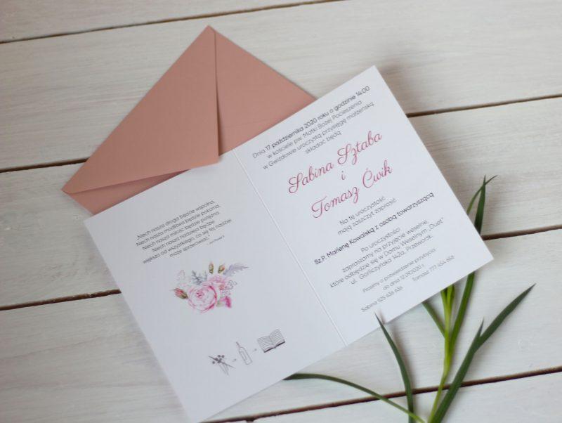 Zaproszenie kwiatowe piwonie KWI 880