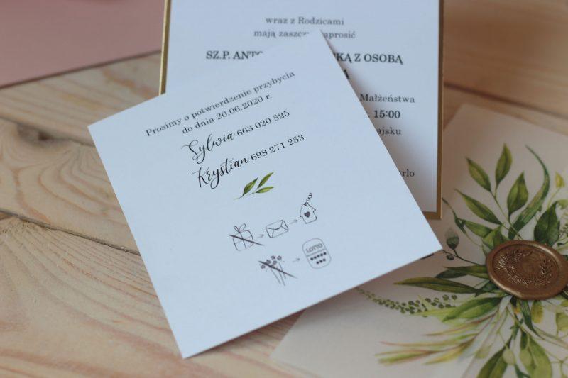Zaproszenia z kalką i stemplem w rustykalnym stylu ELE 462