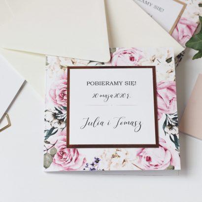 Eleganckie zaproszenie kwiatowe - róże i złoto ELE 463