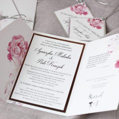 Zaproszenie białe i różowe piwonie ELE 488