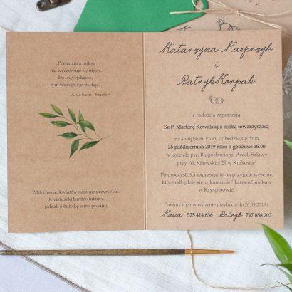 Zaproszenie ślubne z zielonymi listkami eko KWI 868