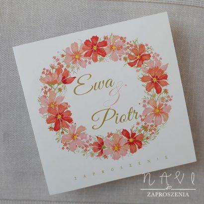 WIA 112 Zaproszenie ślubne z kwiatowym wiankiem