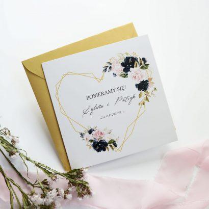 Geometryczne zaproszenia z kwiatami KWI 872