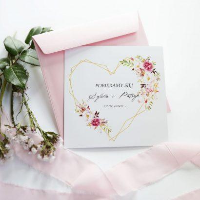Geometryczne zaproszenia z kwiatami KWI 874