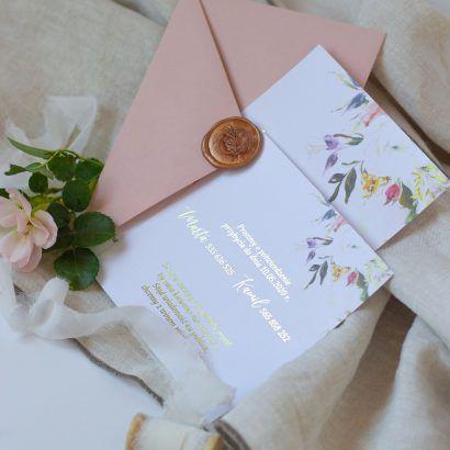 Zaproszenia eleganckie kwiatowe ELE 466