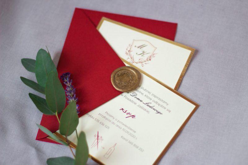 Zaproszenia eleganckie z herbem ELE 465