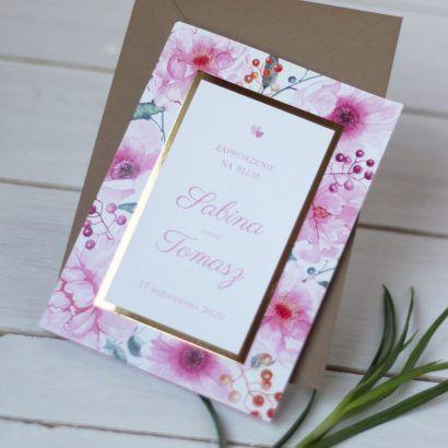 Eleganckie Zaproszenia kwiaty i złoto KWI 881