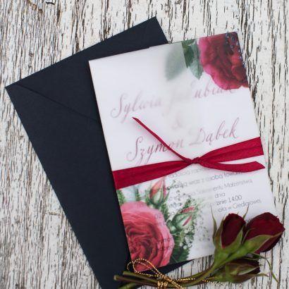 Zaproszenia bordowe róże z kalką ELE 461