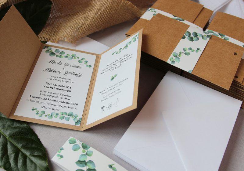 Zaproszenie z eukaliptusem RUS 45