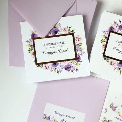 Zaproszenie liliowe ELE 476
