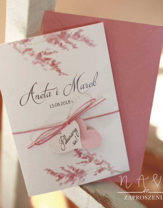 KWI 832 Piękne zaproszenia ślubne z różem