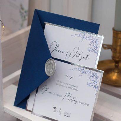 Zaproszenia eleganckie niebieskie ELE 478