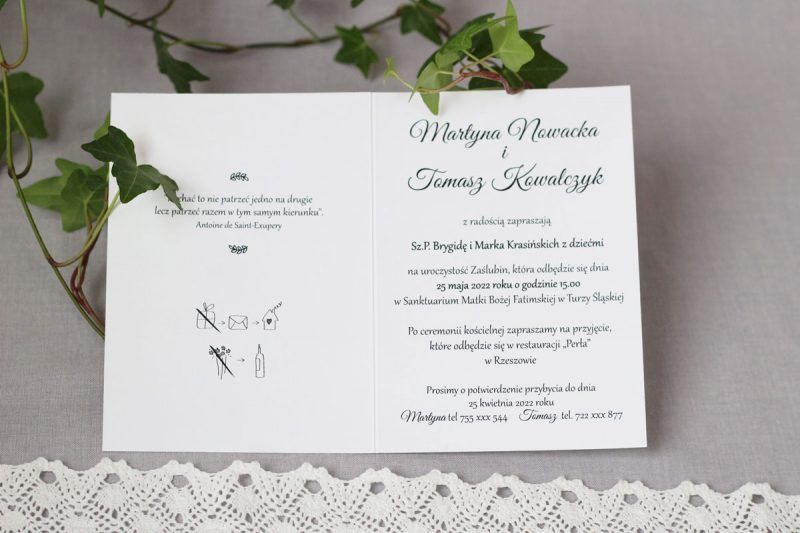 Minimalistyczne zaproszenie KWI 882