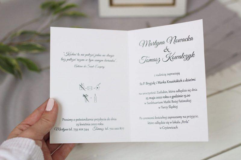 Minimalistyczne zaproszenie KWI 884