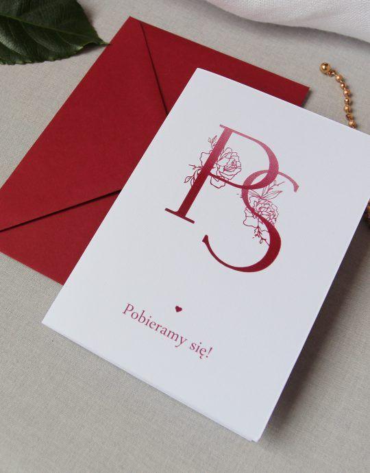 Zaproszenia ślubne bordowe inicjały ELE 4565