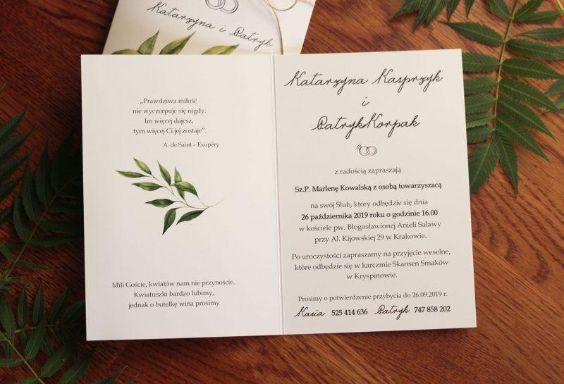 Zaproszenie ślubne z zielonymi listkami KWI 867