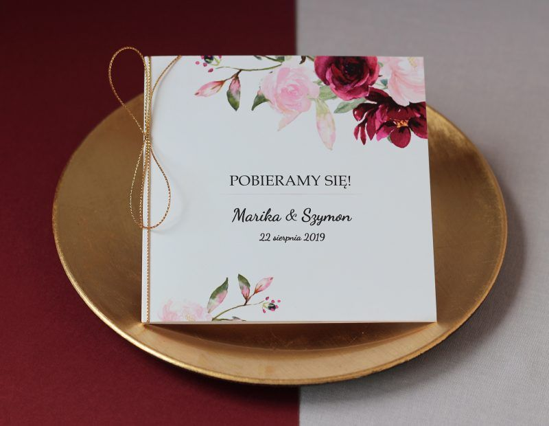 Zaproszenie ślubne kwiatowe KWI 869