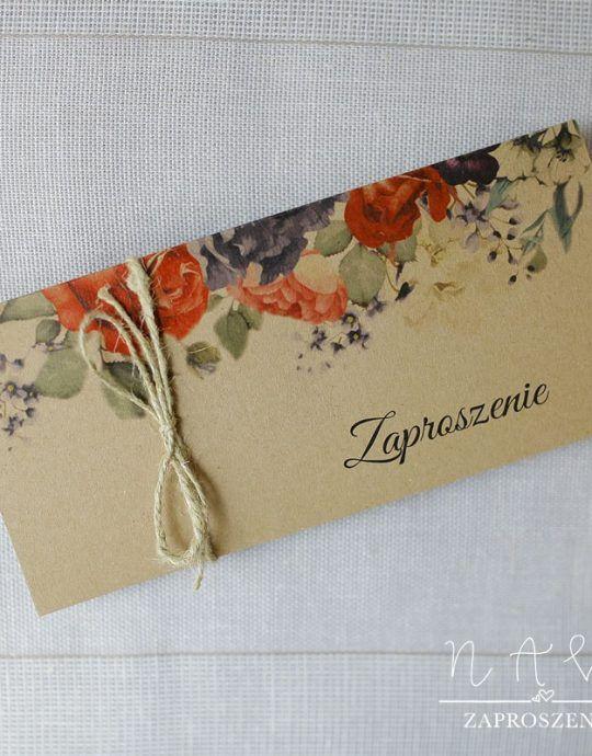RUS 10 Rustykalne zaproszenie ślubne z kwiatami
