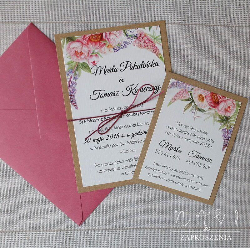 RUS 14 Rustykalne zaproszenia ślubne z eco papierem