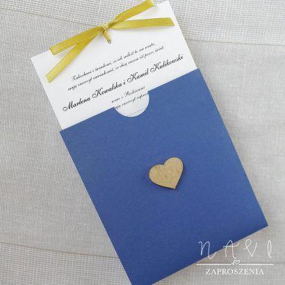 ELE 320 Zaproszenie w granatowym etui ze złotym sercem
