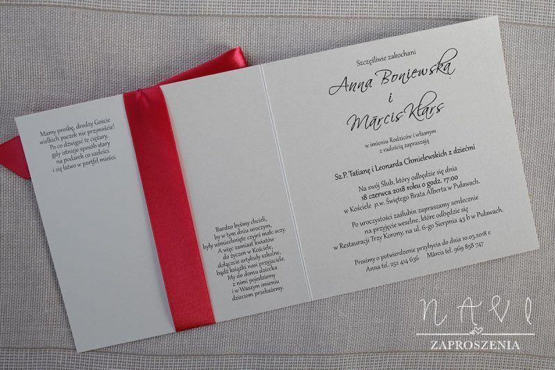 ELE 304 Perłowe zaproszenie ślubne