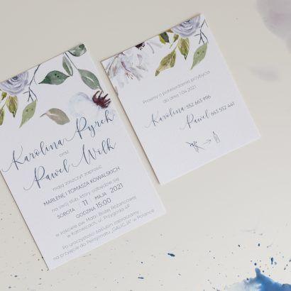 Błękitne zaproszenie ślubne ELE 486