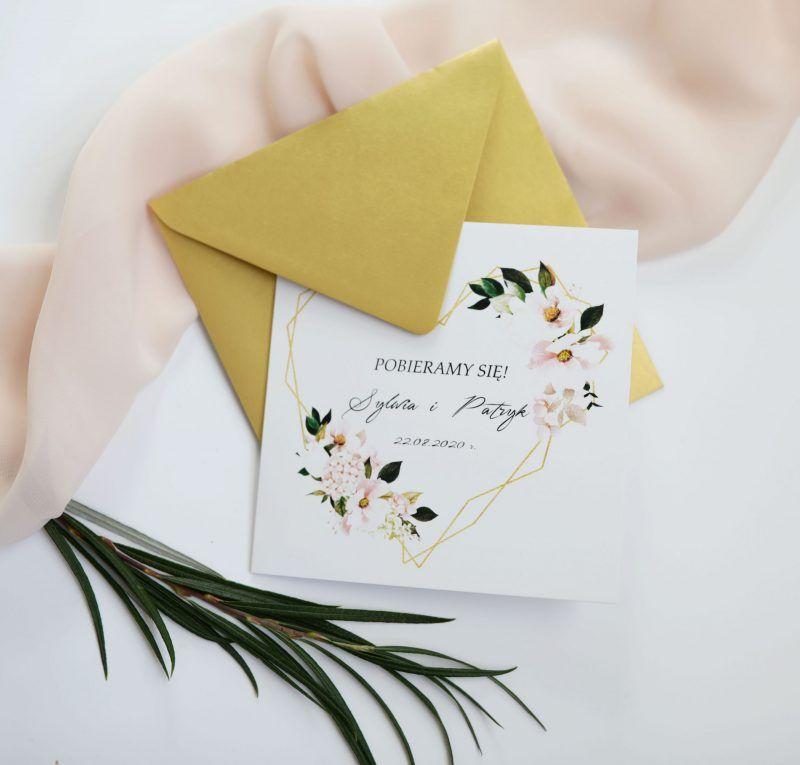 Geometryczne zaproszenia z kwiatami KWI 873